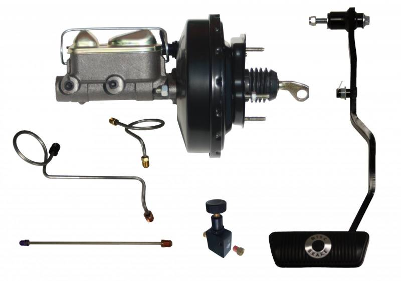 GPS Automotive FC0004HK Power Brakes 9 Black Booster Cast Iron Master Cylinder Adjustable Proportioning Valve Auto Trans Hydraulic Kit