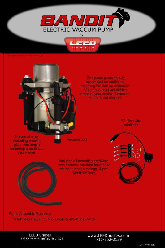 Naked Bandit Electric Vacuum Pump Kit Car Brake Vacuum Pump
