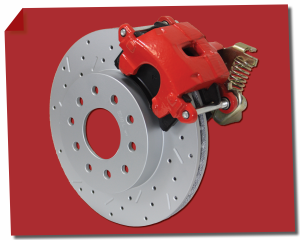 Rear Disc Brake Conversion Kits - Red Powder Coated Rear Disc Brake Kits