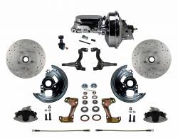 "LEED Brakes - Power Front Disc Brake Conversion Kit Cross Drilled and Slotted Rotors with 9"" Chrome Booster Flat Top Chrome M/C Adjustable Proportioning Valve"