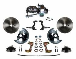 "LEED Brakes - Power Front Disc Brake Conversion Kit with 9"" Chrome Booster Cast Iron Chrome Top M/C Disc/Drum Side Mount"
