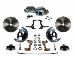 "LEED Brakes - Power Front Disc Brake Conversion Kit with 7"" Dual Chrome Booster Flat Top Chrome M/C Adjustable Proportioning Valve"