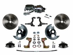 "LEED Brakes - Power Front Disc Brake Conversion Kit with 7"" Dual Chrome Booster Flat Top Chrome M/C Disc/Drum Side Mount"