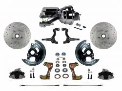 "LEED Brakes - Power Front Disc Brake Conversion Kit Cross Drilled and Slotted Rotors with 8"" Dual Chrome Booster Flat Top Chrome M/C Disc/Drum Side Mount"