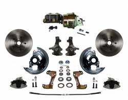 "LEED Brakes - Power Front Disc Brake Conversion Kit 2"" drop Spindle with 7"" Dual Zinc Booster Cast Iron M/C Adjustable Proportioning Valve"