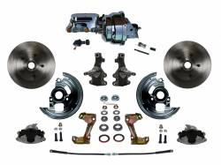 "LEED Brakes - Power Front Disc Brake Conversion Kit 2"" Drop Spindle with 8"" Dual Chrome Booster Flat Top Chrome M/C Adjustable Proportioning Valve"