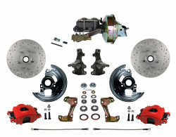 "LEED Brakes - Power Front Disc Brake Kit 2"" Drop Spindle Drilled and Slotted Rotors Red Powder Coated Calipers 9"" Booster Disc/Drum"