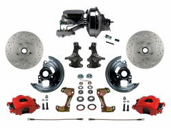 "LEED Brakes - Power Front Disc Brake Kit 2"" Drop Spindle Drilled and Slotted Rotors Red Powder Coated Calipers 9"" Chrome Booster Chrome M/C Disc/Drum"