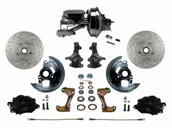 "LEED Brakes - Power Front Disc Brake Kit 2"" Drop Spindle Drilled and Slotted Rotors Black Powder Coated Calipers 9"" Chrome Booster Chrome M/C Disc/Drum"