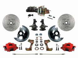"LEED Brakes - Power Front Disc Brake Kit 2"" Drop Spindle Drilled and Slotted Rotors Red Powder Coated Calipers 8"" Dual Booster Adjustable Proportioning Valve"