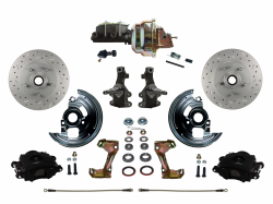 "LEED Brakes - Power Front Disc Brake Kit 2"" Drop Spindle Drilled and Slotted Rotors Black Powder Coated Calipers 8"" Dual Booster Adjustable Proportioning Valve"