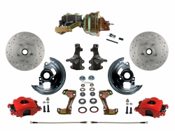 "LEED Brakes - Power Front Disc Brake Kit 2"" Drop Spindle Drilled and Slotted Rotors Red Powder Coated Calipers 8"" Dual Booster Disc/Drum"