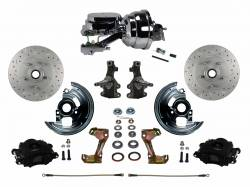 "LEED Brakes - Power Front Disc Brake Kit 2"" Drop Spindle Drilled and Slotted Rotors Black Powder Coated Calipers 8"" Dual Chrome Booster Disc/Drum"