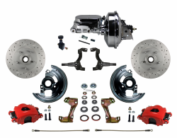 "LEED Brakes - Power Front Disc Brake Kit Drilled and Slotted Rotors, Red Powder Coated Calipers with 9"" Chrome Booster, Chrome M/C Adjustable Proportioning Valve"