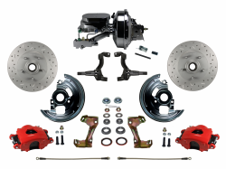 "LEED Brakes - Power Front Disc Brake Kit Drilled and Slotted Rotors, Red Powder Coated Calipers  with 9"" Booster Disc/Disc"