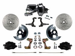 "LEED Brakes - Power Front Disc Brake Kit Drilled and Slotted Rotors, Black Powder Coated Calipers  with 9"" Booster Disc/Disc"