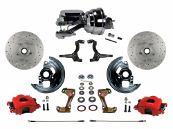 "LEED Brakes - Power Front Disc Brake Kit Drilled and Slotted Rotors Red Powder Coated Calipers with 8"" Dual Chrome Booster Disc/Disc"