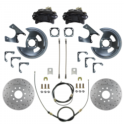 LEED Brakes - Rear Disc Brake Conversion Kit - MaxGrip XDS - Black Powder Coated Calipers - GM 10 & 12 Bolt Axles 5 x4.75 with Staggered Shocks