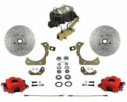 LEED Brakes - Manual Front Disc Brake Conversion Kit with Disc Drum Valve | MaxGrip XDS | Red Calipers