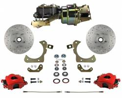 LEED Brakes - Power Front Disc Brake Conversion Kit with Disc Drum Valve | MaxGrip XDS | Red Calipers