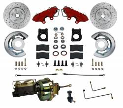 LEED Brakes - 1964-66 Mustang Power Front Kit with Drilled Rotors and Red Powder Coated Calipers for Factory Automatic Transmission Cars