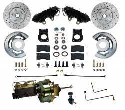 LEED Brakes - 1964-66 Mustang Power Front Kit with Drilled Rotors and Black Powder Coated Calipers for Factory Automatic Transmission Cars