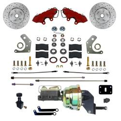 LEED Brakes - Power Front Kit with Drilled Rotors and Red Powder Coated Calipers
