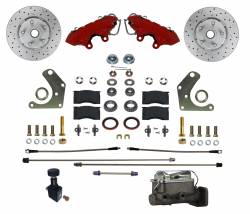 LEED Brakes - Manual Front Kit with Drilled Rotors and Red Powder Coated Calipers