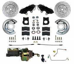 LEED Brakes - 1964-66 Mustang Power Front Kit with Drilled Rotors and Black Powder Coated Calipers for Factory Manual Transmission Cars