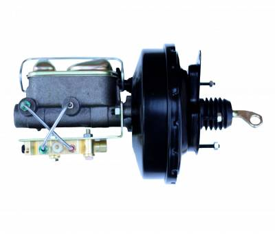 LEED Brakes - 9 inch power brake booster with bracket, 1 inch bore master cylinder , Bottom mount valve, disc/drum (Black)