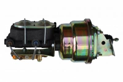LEED Brakes - 7 inch Dual power booster , 1-1/8 inch Bore master, bottom mount valve, disc/drum (Zinc)