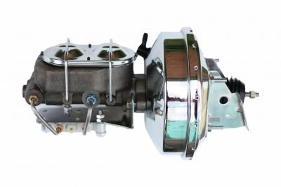 LEED Brakes - 9 inch power booster , 1-1/8 inch Bore Cast Iron Master with chrome lid, bottom mount valve. Disc/disc (Chrome)