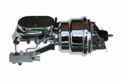 LEED Brakes - 7 inch Dual power booster , 1-1/8 inch Bore Flat Top master, side mount valve, disc/disc (Chrome)