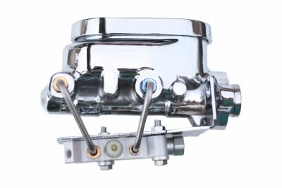 LEED Brakes - Master Cylinder Kit - 1-1/8 inch Bore Flat Top, left port with bottom mount proportioning valve - Disc/Drum