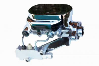 LEED Brakes - Master Cylinder Kit - 1-1/8 inch Bore Flat Top, left port with side mount proportioning valve - Disc/Drum