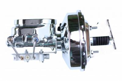 LEED Brakes - 9 inch power booster , 1-1/8 inch Bore Flat Top master, bottom mount valve. Disc/disc (Chrome)