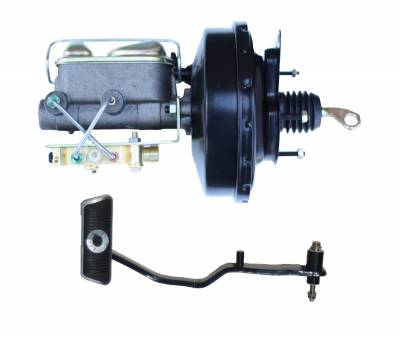 LEED Brakes - 9 inch power brake booster with bracket, 1 inch bore master cylinder , Bottom mount valve, 4 wheel disc with Automatic Trans Brake Pedal