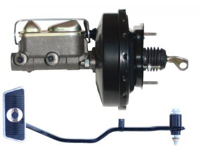 LEED Brakes - 9 inch power brake booster with bracket, 1 inch bore master cylinder  with Automatic Trans Brake Pedal