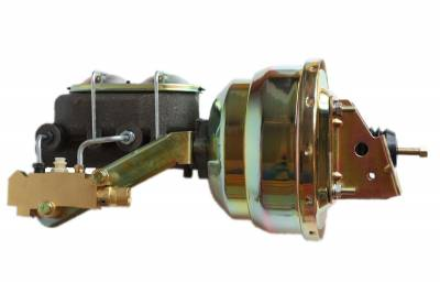 LEED Brakes - 8 inch Dual power booster , 1-1/8 inch Bore master, side mount valve, disc/drum (Zinc)