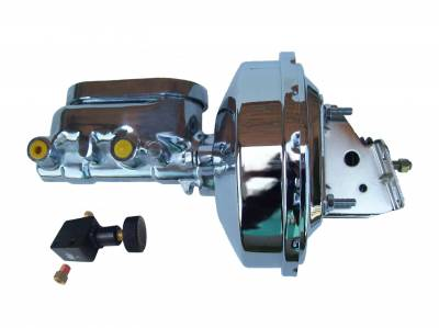 LEED Brakes - 9 inch power booster , 1-1/8 inch Bore Flat Top Aluminum Master with Adjustable Proportioning Valve(Chrome)