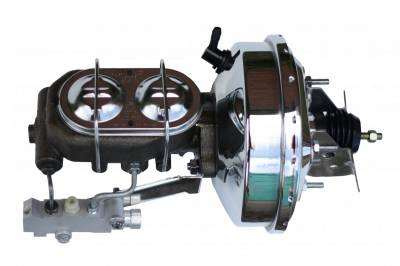 LEED Brakes - 9 inch power booster , 1-1/8 inch Bore Cast Iron Master with chrome lid, side mount valve. Disc/disc (Chrome)