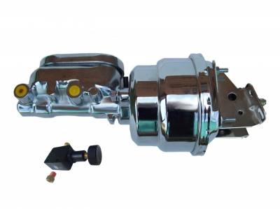 LEED Brakes - 7 inch Dual power booster , 1-1/8 inch Bore Flat Top master with Adjustable Proportioning Valve (Chrome)