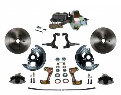 """LEED Brakes - Power Front Disc Brake Conversion Kit with 9"""" Zinc Booster Cast Iron M/C Disc/Drum Side Mount"""