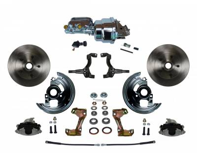 """GM AFX Front Power Disc Brake Conversion -  7"""" Dual Booster Chrome"""