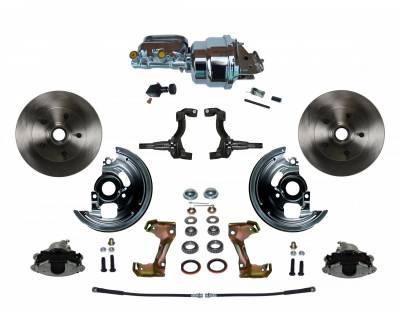 "GM AFX Front Power Disc Brake Conversion -  7"" Dual Booster Chrome  Assembled"