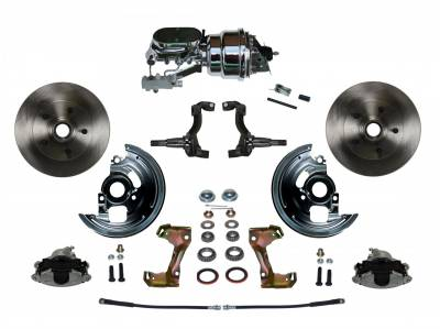 "GM AFX Front Power Disc Brake Conversion -  7"" Dual Booster Chrome Disc/Drum Assembled"