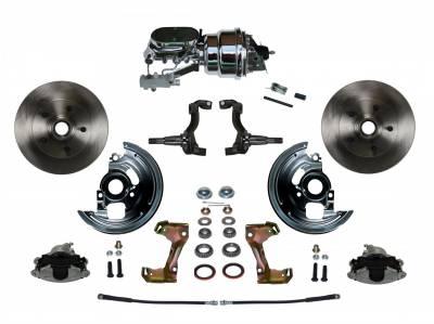 "GM AFX Front Power Disc Brake Conversion -  7"" Dual Booster Chrome 4 Wheel Disc"