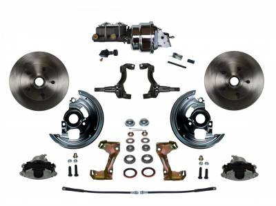 "GM AFX Front Power Disc Brake Conversion -  7"" Dual Booster Chrome Assembled"