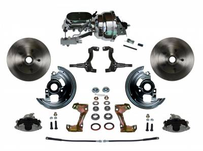 "GM AFX Front Power Disc Brake Conversion -  8""  Chrome Dual Booster 4 Wheel Disc Assembled"