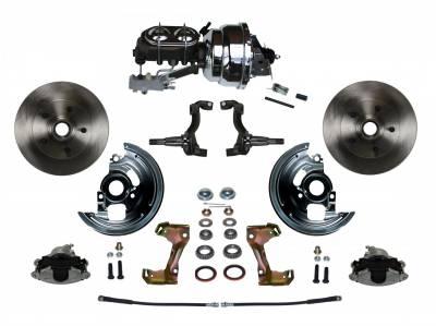 "GM AFX Front Power Disc Brake Conversion -  8""  Chrome Dual Booster 4 Wheel Disc Assembled"